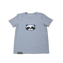 Detské oblečenie - BIO pííískacie tričko Panda melír modrý - 10813816_