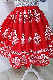 Sukne - Suknička s ľudovým motívom -modrotlač... (Červená) - 10813819_