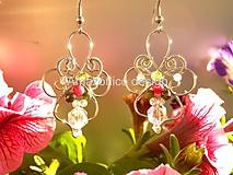 Náušnice - Květinové náušnice s rubínem, turmalínem, olivínem a křišťálem - 10813962_