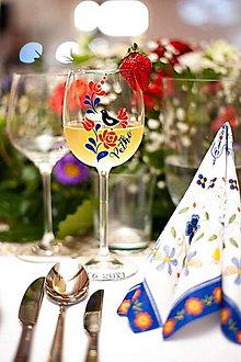 Nádoby - Svadobné poháre Folk-modro červené - 10813383_