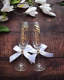 Nádoby - Svadobné poháre s menami -zvislo - 10815507_