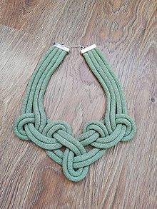 Náhrdelníky - Viazaný náhrdelník - IV.  (Zelená) - 10813504_
