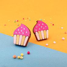 Náušnice - Náušničky - cupcake (Ružová - bodky) - 10814557_