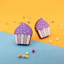 Náušnice - Náušničky - cupcake (Fialová - bodky) - 10814559_