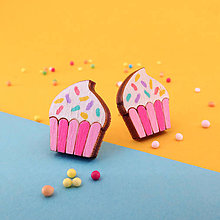 Náušnice - Náušničky - cupcake (Ružová - posýpka) - 10814561_