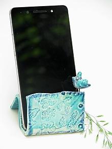 Pomôcky - stojan na mobil tyrkysovo modrý - 10814211_