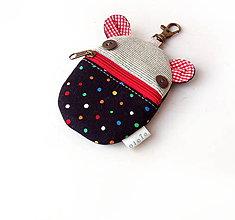 Kľúčenky - Kapsička na slúchadlá Zvieratko s bodkami čierne - 10815215_