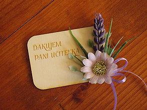 Magnetky - Kvetinová magnetka s levanduľou a textom pre učiteľky - 10814407_