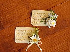 Magnetky - Kvetinová magnetka s margarétkami a textom pre učiteľky - 10814410_