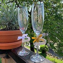 Kytice pre nevestu - Keramické srdiečka /menovky /ozdoby na poháre - 10813426_