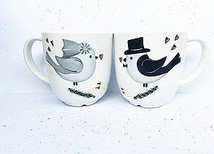 Nádoby - Vtáčiky - hrnčeky podľa svadobného oznámenia - 10816852_
