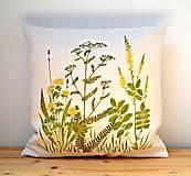 Úžitkový textil - Vankúš-ručne maľovaný-Liečivé rastlinky - 10815959_