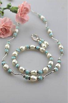 Sady šperkov - larimar s perlou náramok,náhrdelník, náušnice - 10816039_