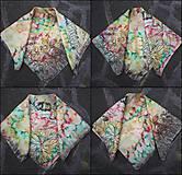 Šatky - Farebnôstka- hodvábna ecoprint šatka - 10815896_