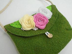 Detské tašky - Dievčenská kabelka (s pastelovými ružičkami) - 10816237_
