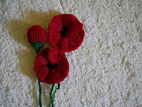 Materiál ručne robený - makove kvety - sada - 10817036_