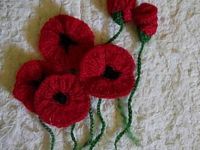 Materiál ručne robený - makové kvetinky - 10817075_