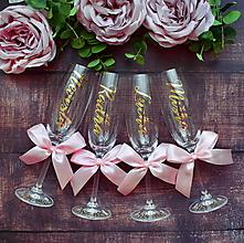 Nádoby - Pohár na rozlúčku so slobodou-zlato ružový - 10817141_