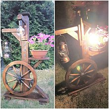 Svietidlá a sviečky - Rustikalna lampa s kolesom - 10816097_