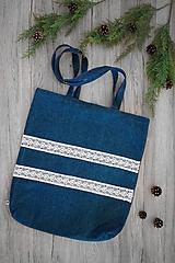 Veľké tašky - Riflová kabelka (S čipkou) - 10816151_
