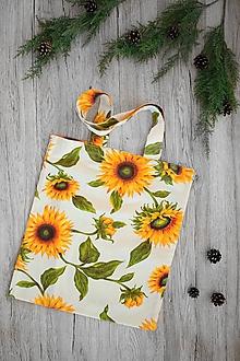 Nákupné tašky - Pevná nákupná taška (Biela so slnečnicami) - 10816186_