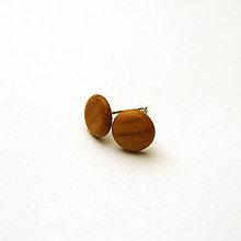 Náušnice - Drevené náušnice napichovacie - čerešňové vypuklé ďobky - 10816748_