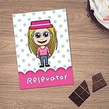 Papiernictvo - Zápisníček s vlastnou karikatúrou puntíky (dievča v klobúku) - 10815691_