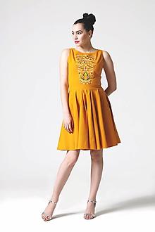 Šaty - Šaty okrové s výšivkou - 10818406_