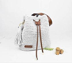 Kabelky - Kabelka batohová natur šedá s čokoládou - 10817999_