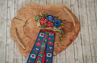 """Ozdoby do vlasov - Set ľudová spona s hrebienkom z kolekcie """"Na ľudovú nôtu"""" Modrá varianta - 10818324_"""
