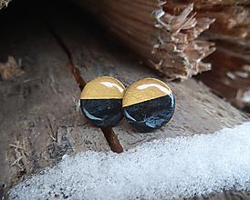 Náušnice - Kruhy 15 mm (čierno-zlaté) - 10817841_