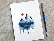 - Originál akvarel Modrosivé hory - 10818501_