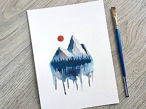 Obrazy - Originál akvarel Modrosivé hory - 10818501_
