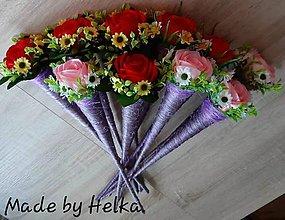Dekorácie - saténová ruža v kornúte - 10817847_