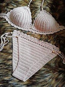 Bielizeň/Plavky - Plavky háčkované béžové - 10817447_