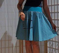 Sukne - Opravdická kolová - tyrkysové šupinky - 10817300_