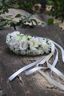 Ozdoby do vlasov - Biela svadobná parta - 10818803_