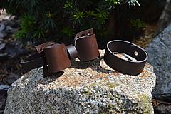Doplnky - Pánsky set - Bow tie/bracelet/KeyFob (Set Brown/hnedá) - 10818125_