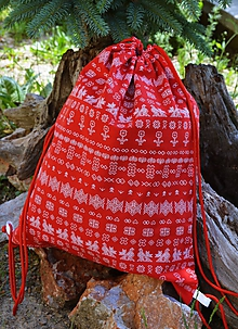 Batohy - Vak / batoh - červený čičmany - 10817254_