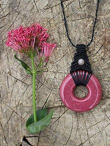 Náhrdelníky - Keramický macramé náhrdelník s mesačným kameňom - 10817922_