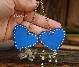 Náušnice - Long heart dots // Blue - 10819075_