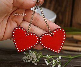 Náušnice - Long heart dots // Red - 10819109_