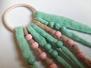 Ozdoby do vlasov - Plstený strapec na gumičke - mätovo-ružový - 10820735_