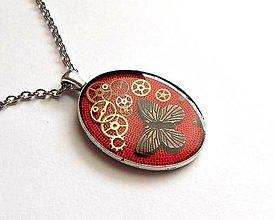 Náhrdelníky - Steampunk červený náhrdelník - 10821135_