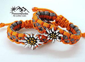 Náramky - Paracord náramok - Plesnivec sivo-oranžový - 10821558_