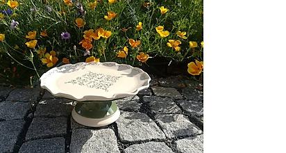 Nádoby - New zelený keramický podnos na dobroty - 10820268_