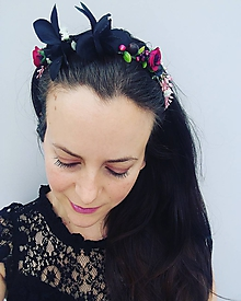 """Ozdoby do vlasov - Kvetinová čelenka """"Black orchid"""" - 10820251_"""