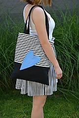 - Nákupná taška/shopper modré srdce - 10819801_