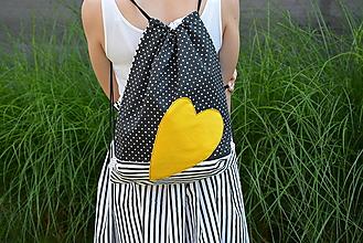 Batohy - Batoh/backpack žlté srdce - 10819920_