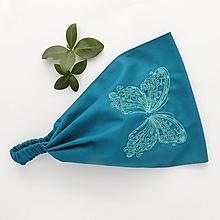 Ozdoby do vlasov - Tyrkysový motýl na tyrkysové - 10819178_